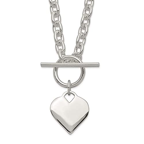fff86c7ba Buy 925 Sterling Silver Engraveable Heart Toggle Chain Necklace Pendant  Charm S/love Engravable Fine Jewelry Gifts For Women For Her with Ubuy  Kuwait.