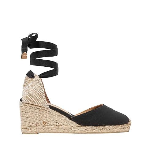 42d8447599a07 Womens Espadrille Wedge Sandals Closed Toe Platform Lace Up Ankle Wrap  Slingback Sandals