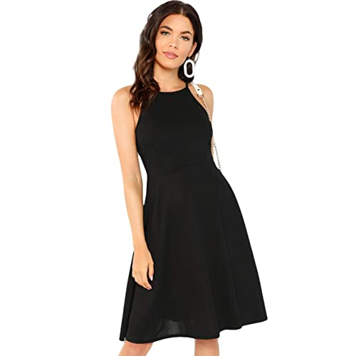 f33ff92bb5 Buy SheIn Women's Casual Sleeveless A-Line Solid Flare Halter Neck Dress  with Ubuy Kuwait. B07HVH9S5V
