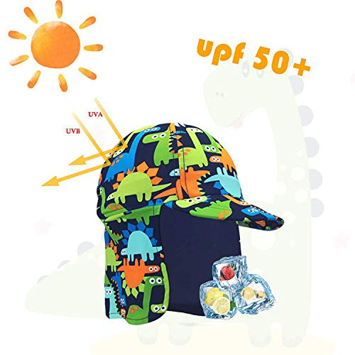 Kids Legionnaires Hat Sun Protection Swim Cap Flap Hat in Cherry Pattern for Kids UPF 50 Quick Drying Girls Sun Hat with Neck Protection for Beach Seaside Pool