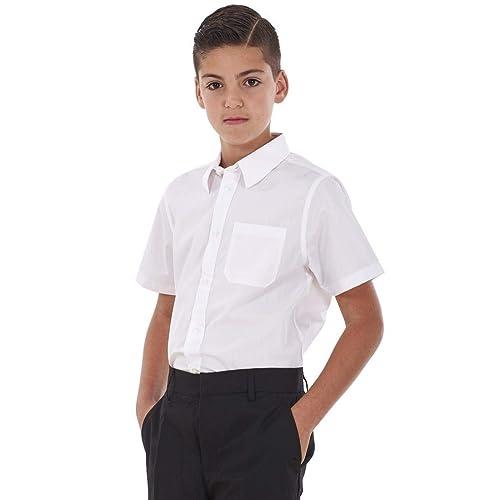 ChicWhisper Girls 2 Pack Regular Fit Easy to Iron Short Sleeve Blouse School Shirt