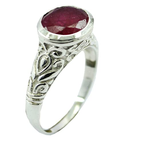 55carat Genuine Indian Ruby Sterling Silver Ring For Women Oval Shape Birthstone Uk Size H Z Buy Products Online With Ubuy Kuwait In Affordable Prices B077979s4w