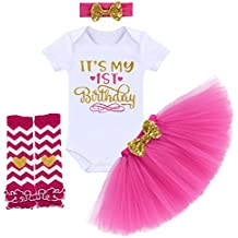 876b77e1e9d7 Birthday Outfit Baby Girls Romper+Ruffle Tulle Skirt+Sequins Bow Headband+Leg  .