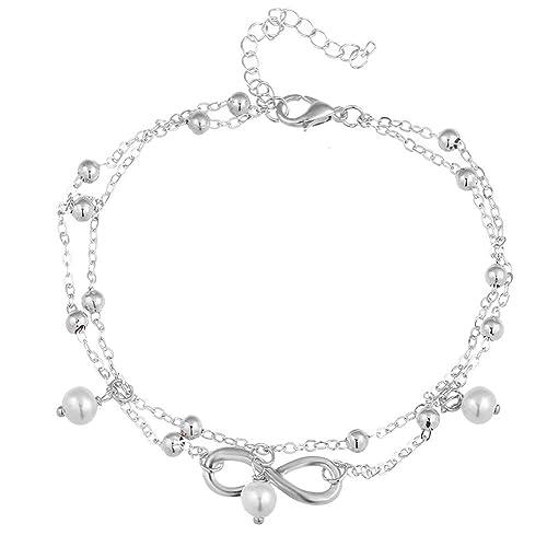 Ankle Bracelet Women Anklet Infinite love Beach Pearl Foot Chain Toe Ring Women Jewelry