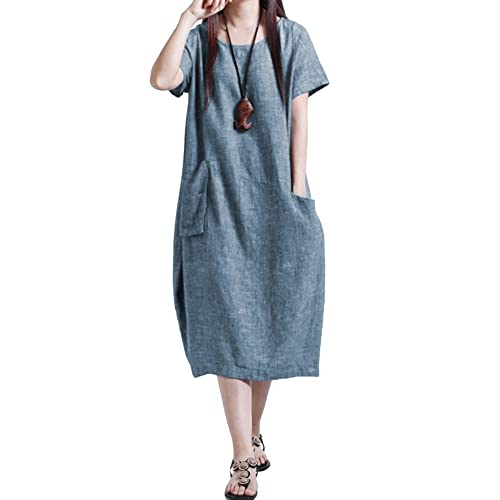 Kingwo Women Summer Fashion Plus Size Short Dress Vintage Printed V-Neck Short Sleeve Casual Loose Long Maxi Dress UK 12~24