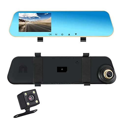 Aceeken Dash Cam for Cars,9.66 Rear View Mirror for Cars,1296P Front and 1080P Rear View Camera Dual Lens Loop Recording,170/° Wide Angle,Super Night Vision,Reverse Assistance