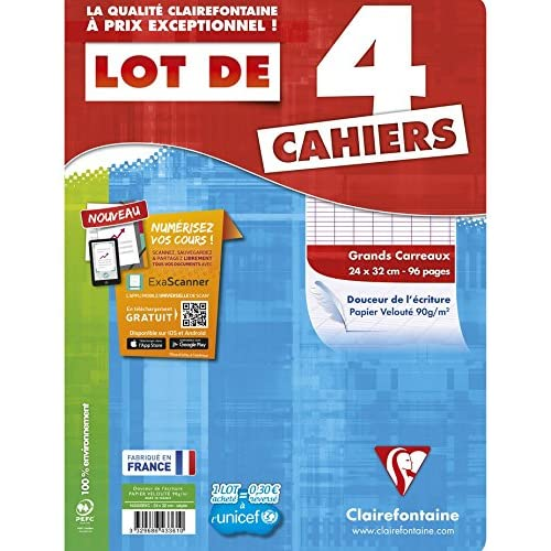 Clairefontaine Metric Large-Ruled Spiral-Free Exercise Book 96 Pages Assorted Pack of 4 21 x 29.7 cm Assorted Colours