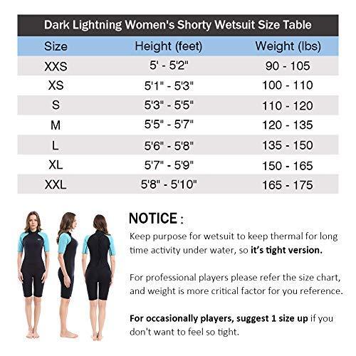 Womens Shorty Wet Suit Premium Neoprene Kids 2mm One Piece Wet Suits Fishing Diving,Surfing Snorkeling Dark Lightning 2mm Wetsuit Women
