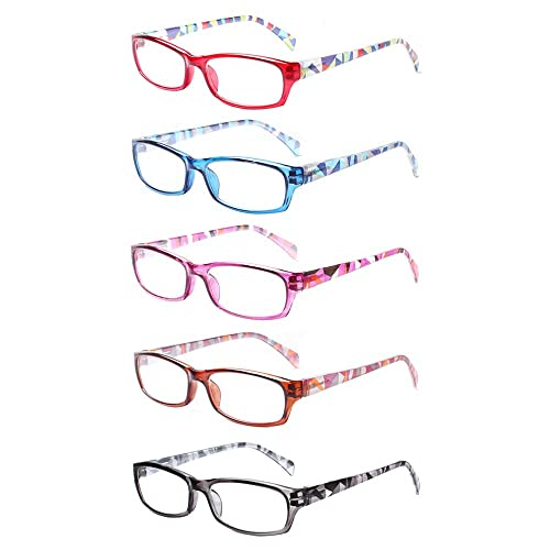 Reading Glasses 5 Pairs Stylish Pattern Frame Readers Quality Fashion Ladies Glasses for Women +2.50, 5 Pairs Mix Color