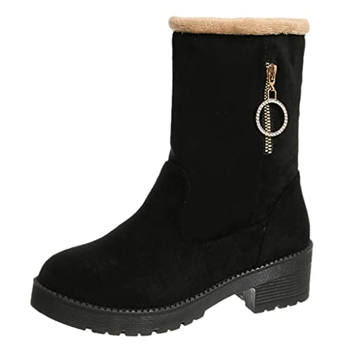 Buy Baiggooswt Women Suede Zippe Square Heel Mid Tube Shoes Winter Keep Warm Snow Boot Round Toe Non Slip Boot Online In Kuwait B082fh7zx7
