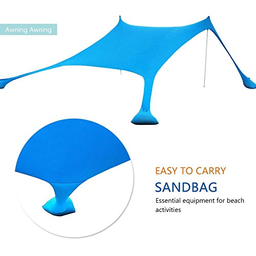 Portable Beach Sunshade with 100/% Lycra UV Protection 85 x 85 Sun Tent Beach Shelter Canopy XISHUAI Qrout Beach Tent with Sand Anchor