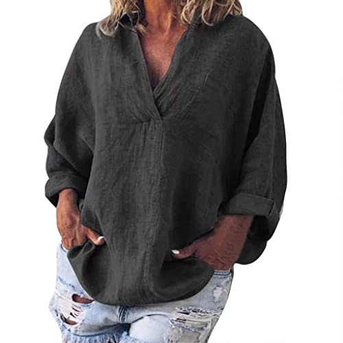 Xmiral Women Hooded Sweatshirt Plus Size Long Sleeve Solid Pullover Tops Shirt