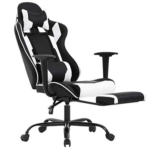 Bestoffice Ergonomic Office Chair Pc Gaming Chair Cheap Desk Chair Executive Pu Leather Computer Chair Lumbar Support With Footrest Modern Task Rolling Swivel Chair For Women Menwhite Buy Products Online With