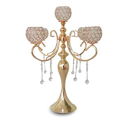 Wedding Classic Elegant Design Dinner Party and Formal Event Centerpiece Klikel Classic 24 Inch Gold 5 Candle Candelabra Gold Mirrored Finish with Hanging Acrylic Crystals