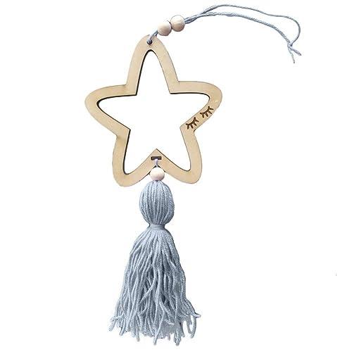 Fliyeong Premium Nordic Style Cute Satr Shape Wooden Beads Tassel Hanging Pendant Kids Room Decor Wall Hanging Ornament grey