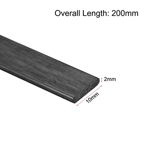 uxcell Carbon Fiber Strip Bars 2x10mm 600mm Length Pultruded Carbon Fiber Strips for Kites RC Airplane 1 Pcs