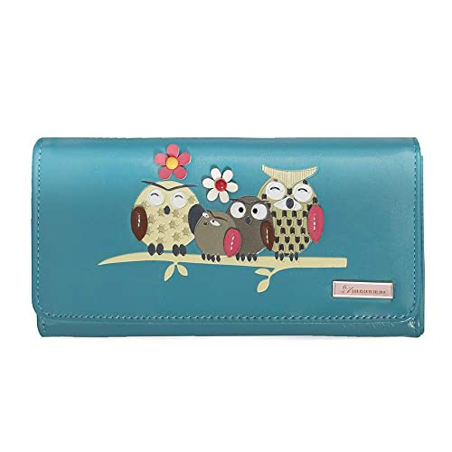 KukuBird Fox Design With Flower Buckle Large Ladies Purse Clutch Wallet Christmas Stocking filler