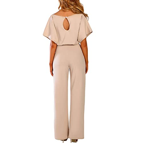 Auifor✿ Women Loose Solid Color V Neck Long Sleeve Hollow Out Jumpsuit Playsuit