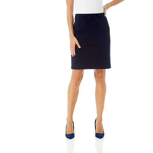 Ladies Skirt Womens Pleated Elasticated Waist Black Grey Navy Navy Formal Office