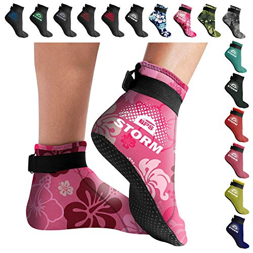 Low Cut - Unisex Tide-Pooling and All Water and Sand Activities/… 3mm Neoprene Glued and Blind Stitched w//Fit Adjustment Straps for Snorkeling BPS Storm Sock Ultra Premium Water Fin Sock