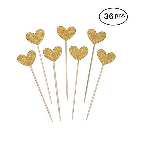 Buy 36pcs Heart Cupcake Toppers Twinkle Gold Snacks Decor Diy Mini