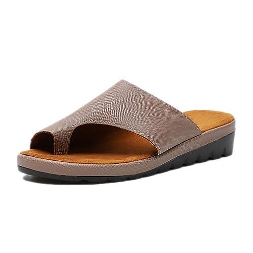 Women Comfy Platform Sandal Orthotic Shoes Summer Flat Toe Post Bunion Corrective Sandals Ladies Beach Travel Slippers Black Silver Gold Leopard Brown 3-9 UK