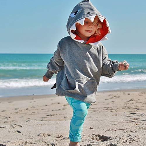 Unisex Baby Autumn Winter Shark Hooded Sweatshirt Infant Boys Girls Hoodies with Kangaroo Muff Pockets/& Shark Fin