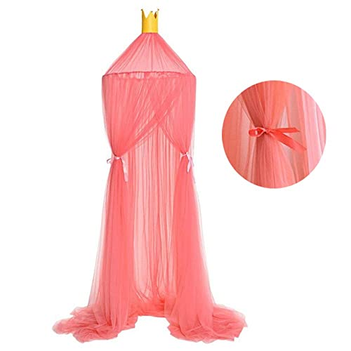 Light Yellow ESUPPORT Dome Princess Bed Canopy Round Lace Mosquito Net Play Tent Hanging House Decoration Lace Netting Curtains Indoor Game House for Baby Kids