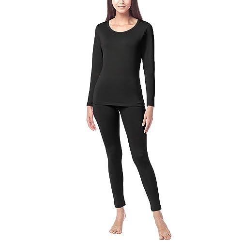 MANCYFIT Thermal Underwear for Women Seamless Long Johns Set Double Fleece Lined Turtleneck Base Layer
