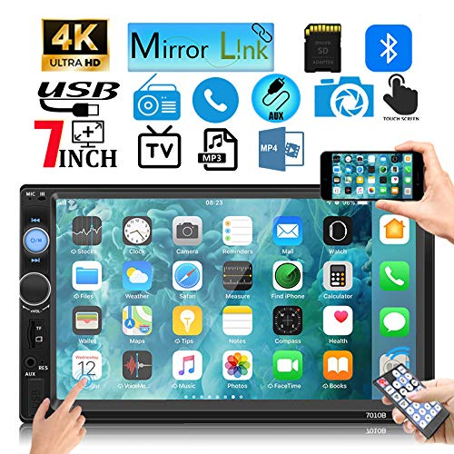 Android//Apple IHGTZS 7 Inch Double 7023B 2 DIN Car FM Stereo Radio MP5 Player Touchscreen Bluetooth USB TF FM Radio Backup Rear View Camera Mirror Link Car Audio Receiver Support