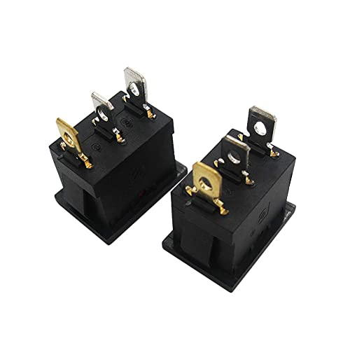 RUNCCI 12 Pcs 3 Pin 16A 250V//30A 250V 2 Position ON//Off KCD3 Boat Rocker Switch with Indicator Light