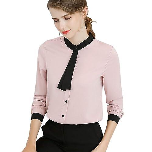 e4207288c811 Buy XWDA Women's Chiffon Peter Pan Collar Short Long Sleeve Bowknot Button Shirt  Blouse with Ubuy Kuwait. B07P73YX84