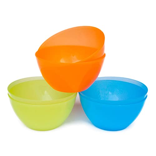 22 oz Plastic Cereal//Soup Bowls,Set of 12 in 3 Assorted Colors,Unbreakable and Flexible,Lime Green//Aqua Blue//Orange,Honla