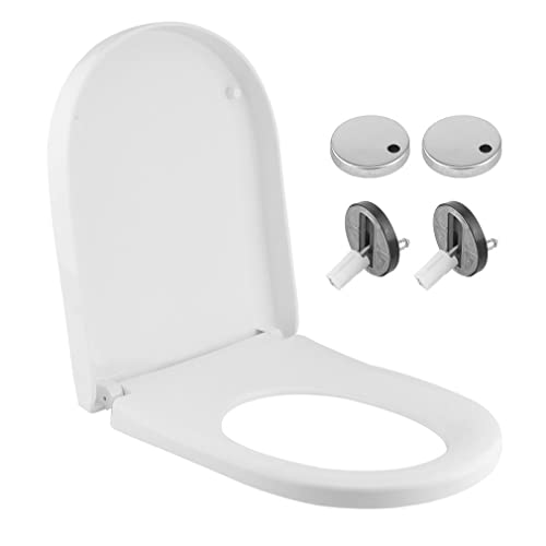 Elite White Square Rectangular WC Toilet Seat with Top Fix Adjustable Hinges Soft Close Lid Quick Release for Easy Clean Modern Luxury Design Anti-Bacterial