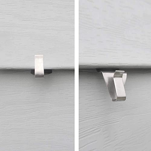 Heavy Duty Stainless Steel Low Profile No-Hole Wish Vinyl Siding Hooks 4 Pack