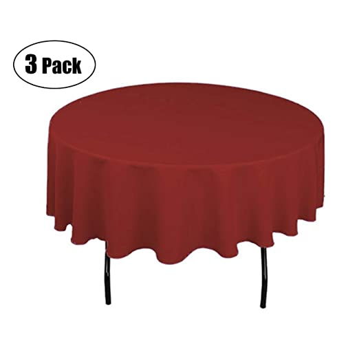 Aneco 6 Pack Round Disposable Tablecloths 84 Inch Plastic Tablecloths Table Cloths Table Covers for Indoor or Outdoor Parties Birthdays Weddings Christmas