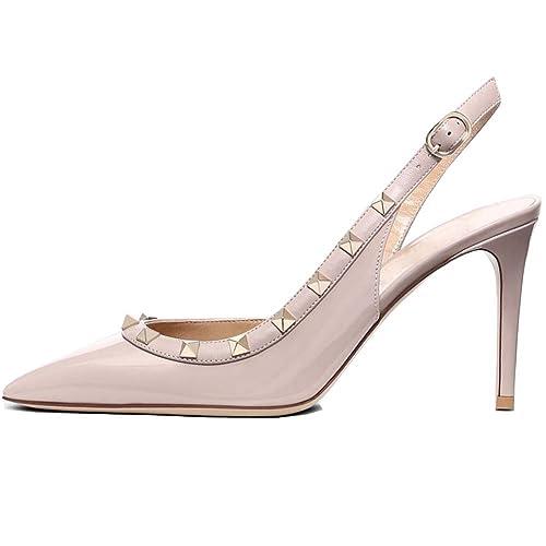78b8a6fbcb984 Buy Kmeioo Pumps for Women, Rivets Heels Slingback Pumps Pointed Toe ...