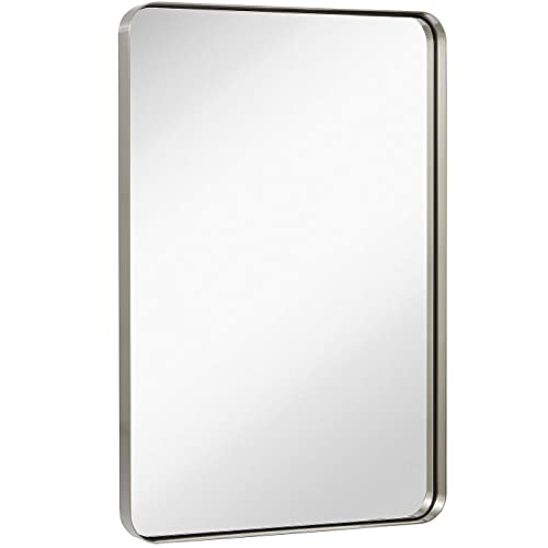 Buy Hamilton Hills Contemporary Brushed Metal Wall Mirror Glass Panel Silver Framed Rounded Corner Deep Set Design Mirrored Rectangle Hangs Horizontal Or Vertical 24 X 36 Online In Kuwait B07ch341z1