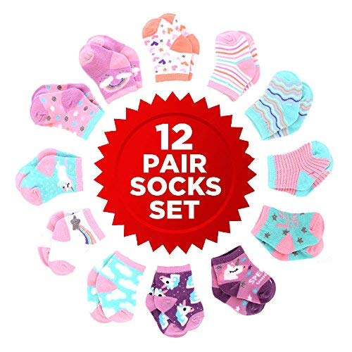 Age 0-24 Months Rising Star Baby Boys Assorted Color Designs 12 Pair Socks Set