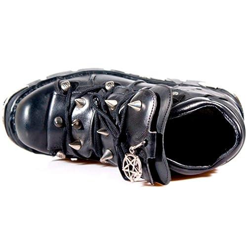 NEWROCK New Rock 110-S1 Metallic Black Real Leather Stud Biker Gothic Boots