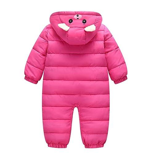AceAcr Unisex Baby Hooded Winter Snowsuit Infant Warm Puffer Jumpsuit Romper Jacket