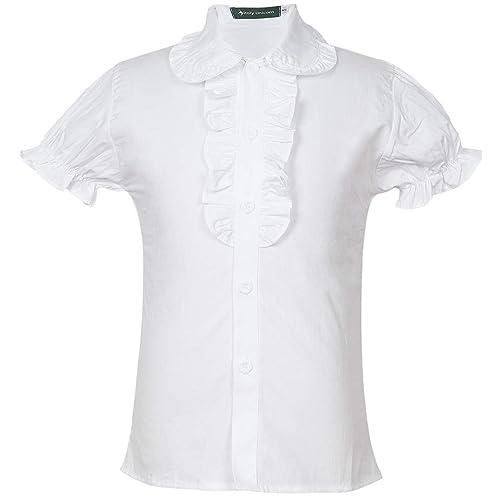 Girls School Uniforms Puff Sleeve Blouse Button-Down Shirts with Ruffle Trim