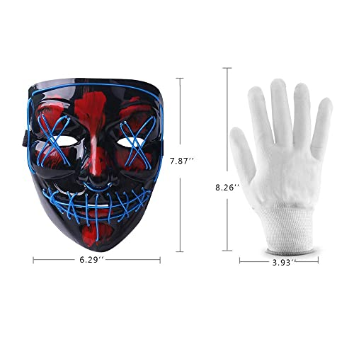 Aywewii Halloween Mask LED Light Up Mask with LED Gloves for Festival Cosplay Halloween Costume