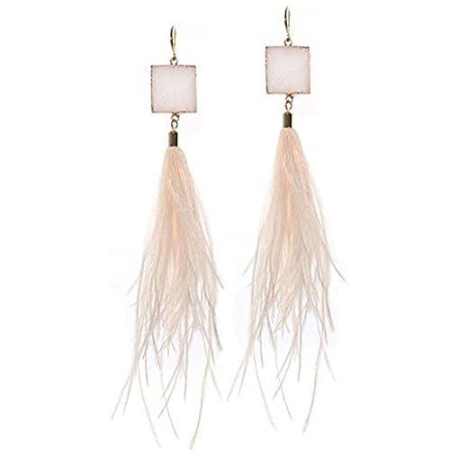 Ivysan Handmade Fashion Bohemian Natural Feather Long Dangle Earrings