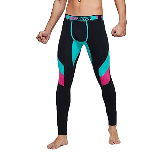 Gym Print Cotton Breathable Sports Leggings AMhomely Long Thermal Compression Tights Jogger Trouser Outdoor Cool Quick Dry Underwear Pants for Mens Size M-2XL,Black