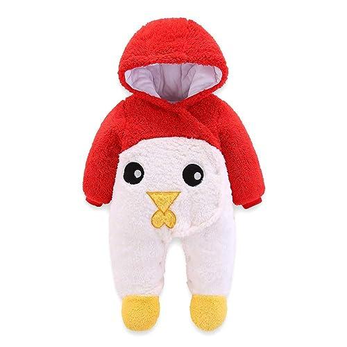 SUPEYA Newborn Cute 3D Bear Warmer Snowsuit Cotton Fleece Hooded Romper Jumpsuit for Baby Girl Boy