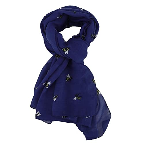LilyRosa/® Bee Scarf Bumble Bees Pattern Design Print Grey Navy Turquoise Blue Mint Green Scarves