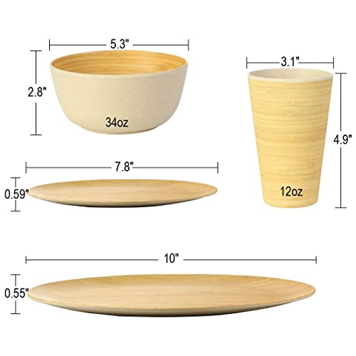 Lekoch Bamboo Plates,Bamboo Plates Reusable for 4 Color,Eco-friendly Tableware Set for Kids and Adults,for Camping、Picnic、BBQ、Party、Gift Packing,Dishwasher Safe,Pack of 4