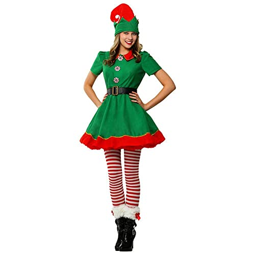 ELF HAT AND SOCKS SET Christmas fancy dress Pixie//Elf Green and Red stripes