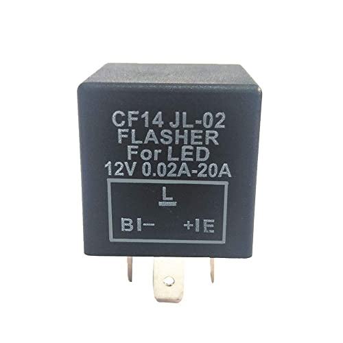 YUSHHO56T Flasher Relay Car Interior Parts Relay CF14 3-Pins Electronic Car Flasher Relay for LED Light Hyper Flash Blinking Black